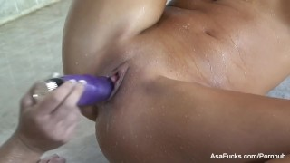 Asa Akira gets her pussy toyed by Demi Emmerson in the shower  big tits babe dildo asian pornstar puba asaakira tattoo shower toys hardcore japanese lesbian brunette wet asafucks sex toys natural tits adult toys girl on girl