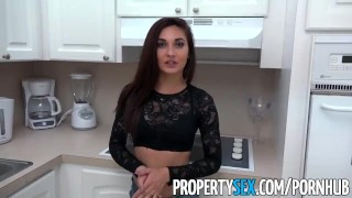 PropertySex - Hot tenant with no money fucks big landlord dick
