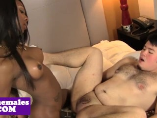 Bigtitted black tgirl sucked before analsex