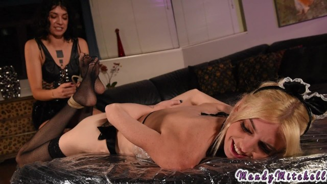 Bianca Stone uses bad maid Mandy Mitchell for sex then pisses in her mouth.