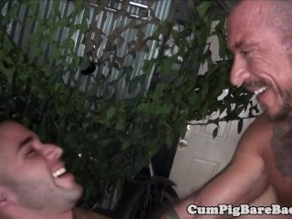 Muscular DILF barebacks ripped jock