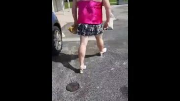Feminized sissy bitch has to walk in heels for public humiliation