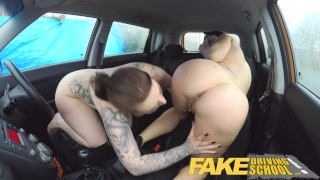 Fake Driving School Busty lesbian ex-con eats hot examiners pussy on test Licking tattoos