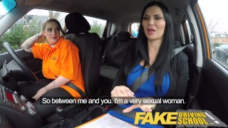 Fake Driving School Busty lesbian ex-con eats hot examiners pussy on test porno