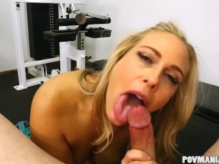 Busty Angel Allwood Giving A Good Blowjob In Povmaniaxxx