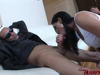 Husband watches wife take Massive Cock!