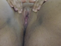 freshly waxed pussy has a happy orgasm