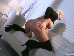 Busty Britney Amber teases and toys her wet pussy