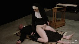 Hot Nun Gives Blowjob & Femdom Face Sitting