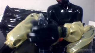 POV femdom footjob with latex socks  point of view femdom masturbate fetish handjob kinky footjob rubber latex mistress rubberdoll catsuit condom foot domination