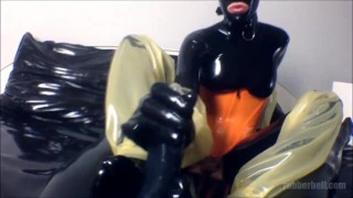 POV femdom footjob with latex socks  point of view catsuit femdom masturbate fetish handjob kinky footjob rubber rubberdoll condom latex mistress foot domination