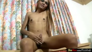 Ladyboy banana belly anal in inserts teen and on jizzes her hd toys