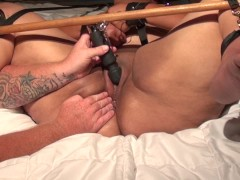 MY SUBMISSIVE BBW BLACK WIFE HAS EXPLOSIVE SQUIRTING ORGASM - BDSM BONDAGE