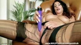 Brunette Roxy Mendez rips open nylon pantyhose in panties plays toys pussy