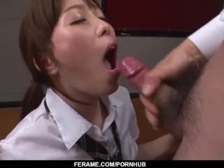 Moe Sakura does blowjob and fucks at school
