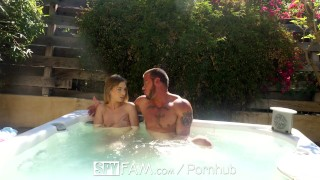 SpyFam Step brother and step sister Sydney Cole fucking in the jacuzzi  sydney cole cream pie babe outdoor hd blowjob public hardcore brunette 60fps sex spy pussy licking spyfam 4k natural tits