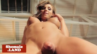 Bigtitted tgirl beauty stroking her cock solo