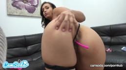 Kelsi Monroe big ass fingering pussy and sucking dildo.