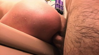 Preview 4 of Painal, Bunny gets her little ass fucked in the shower, Anal creampie