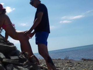real amateur doggystyle on the beach