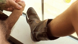 Straight Uncut Military Jerks And Blows Big Cum Load on Buddies Cowboy Boot