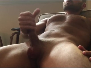 hairy toned guy cums