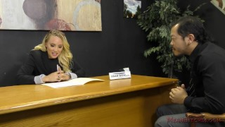 Preview 1 of Loan Officer AJ Applegate Makes The Applicant Lick Her Asshole For a Loan