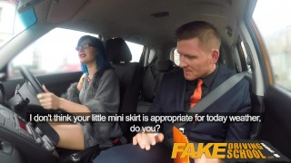 Fake Driving School Anal sex and a facial finish ensures driving test pass Tattooed point