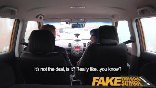 Fake Driving School Anal sex and a facial finish ensures driving test pass Big boobs