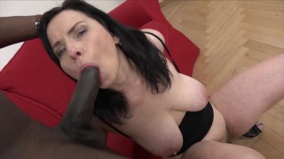 Saggy tits cougar gets anal and creampie from big black dick