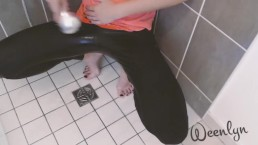 Wetting yoga pants: Hold to desperation, Release & Clean - Amateur pissing