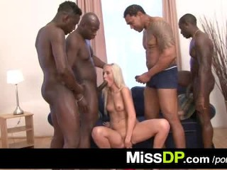 Blonde whore Jenny Simons blacked in rough gang bang porn