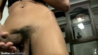 And ladyboy lingerie slender tits cock hairy shows small in tits masturbation