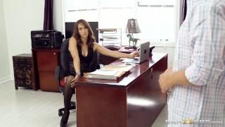 Preview 1 of Hot Brunette Boss Fucks Her Coworker - Brazzers