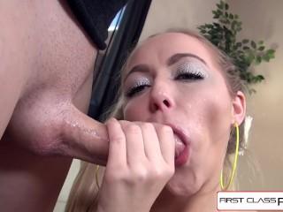 Beautiful Iris Rose sucking and fucking on fat big cock