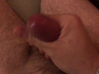 Jacking-off solo with so much pre-cum
