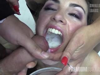 Preview 6 of Premium Bukkake - Nicole swallows 59 huge mouthful cumshots