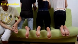 3 young women receive a good foot massage