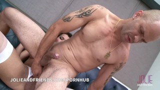 Lucky guy fucks and get fucked by beautiful big cock shemale Wife riding