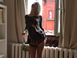 19yo angelica banging herself out in my window with a huge black dildo