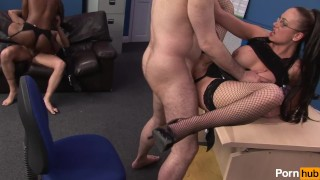 office perks - Scene 4 Brunette interracial
