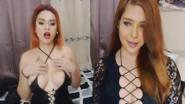 Tranny asion - Two hot tranny babe masturbating together