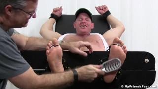 Big muscular redneck Dev gets armpits and feet tickled