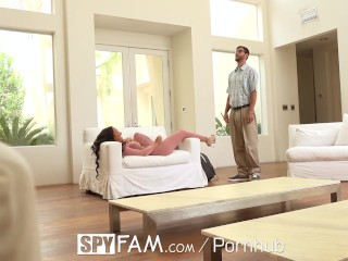SpyFam Step sister Amia Miley discovers step brother has huge cock
