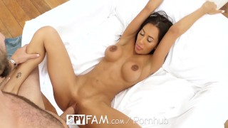 SpyFam Step sister Amia Miley discovers step brother has huge cock Toys dildo