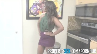 PropertySex - Smoking hot black real estate agent surprises client Young cock