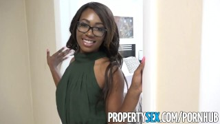 PropertySex - Smoking hot black real estate agent surprises client Foursome group