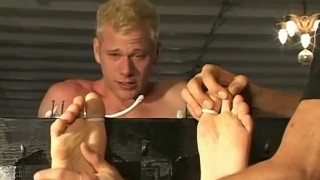 A blonde twink dude tied up and tickled all over his body Asian japanese