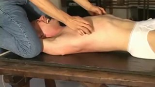 A blonde twink dude tied up and tickled all over his body Darkroom fisting