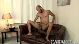 Bald Spanish twink Dominic Arrow strokes his fat cock solo